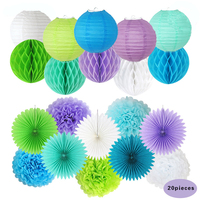 Hanging Decorations Set Honeycomb Balls Paper Lantern Paper Flowers Fan PomPoms(Green+Light Purple+Blue+White) for Wedding Party