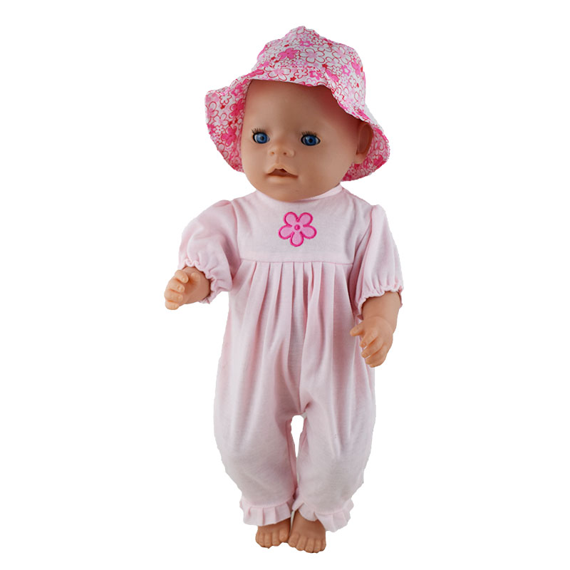 Floral print hat + white flower coveralls for 43cm zapf doll baby born Doll accessories Is the best gift and toy for children