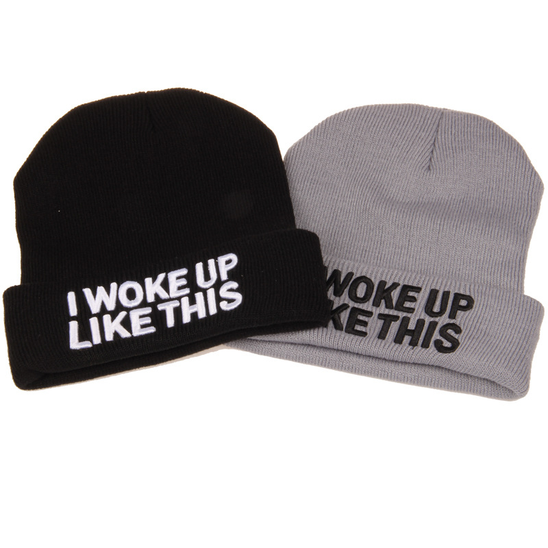 Europe and The United States Men and Women Hip-Hop I WOKE UP LIKE THIS  Embroidery Knitted Wool Elastic Beanie Hat Ski Cap RX161 20 colors fall and winter europe and the united states men and women s bad hair day embroidery beanie kintted wool hat hiphop