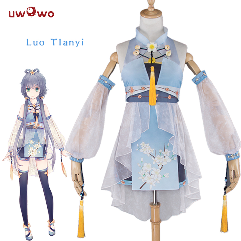 UWOWO Luo Tianyi Cosplay VOCALOID CHINA PROJECT Cute White Costume Kawaii VOCALOID Cosplay Luo Tianyi Chinese Style Dress