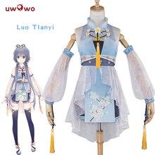 فستان بنمط صيني من UWOWO Luo Tianyi كوسبلاي فوكالود صيني على شكل مشروع لطيف أبيض كوسبلاي فوكالود Kawaii