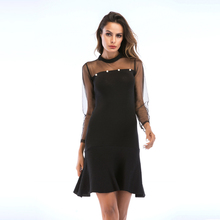 Women Sexy Lace Party Dress Long Sleeve O Neck Black Solid Elegant Summer Club Vestidos
