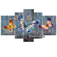 REALSHINING Colored Butterfly 5d Diamond Painting Cross Stitch Needlework Full Square Mosaic diy Diamond Embroidery Crafts DM124