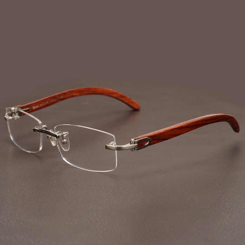 f6e9282c54 ... Cubojue Wooden Glasses Men Gold Rimless Eyeglasses Frames for Man Myopia  Diopter Optical Prescription Luxury Brand ...