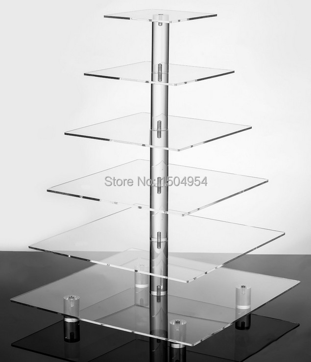 square 6 Tier Acrylic Cupcake Display Stand /acrylic cake stand with base-in Stands from Home & Garden    1
