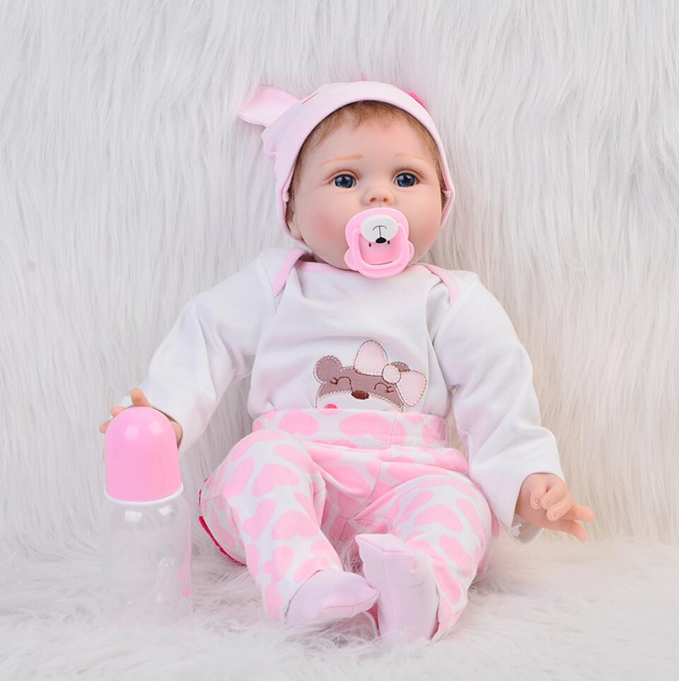 "Фото Classic Popular Realistic Rooted Mohair Newborn Doll 22"" 55cm Soft Silicone Vinyl Lifelike Reborn Baby Dolls For Girls XMAS Gift"