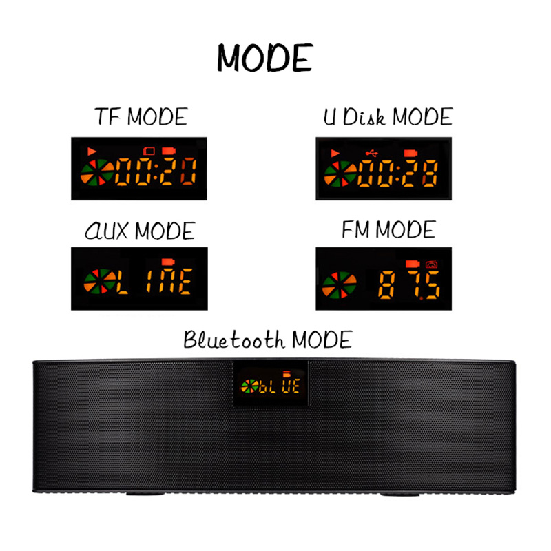 2018 HIFI Bluetooth Speaker Portable Wireless Super Bass Dual Speakers Soundbar with Mic TF FM Radio USB Sound Box стоимость
