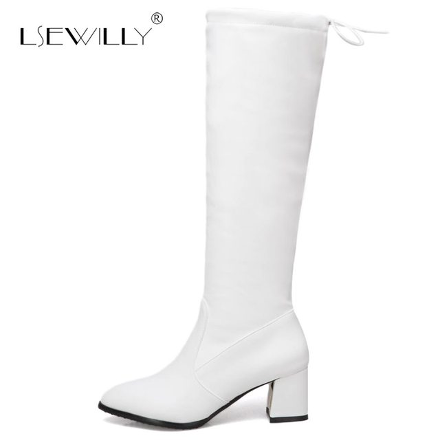9ad7aa724dc Lsewilly Winter 2018 Women s Boots Sexy Pointed Toe Faux Leather High Heels  Shoes Woman Thick Heel Stiletto Knee High Boots S543