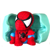 Silica gel Cartoon Spiderman silicone 3d mousse cake mold ice cream handmade soap candle mould silicone forms