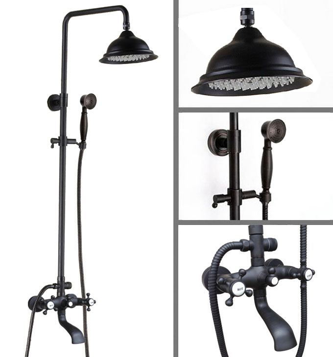 Wall Mounted Black Oil Brass 8.2 Rain Bathroom Shower Faucet Set Bath Tub Mixer Tap with Hand Shower Chg103