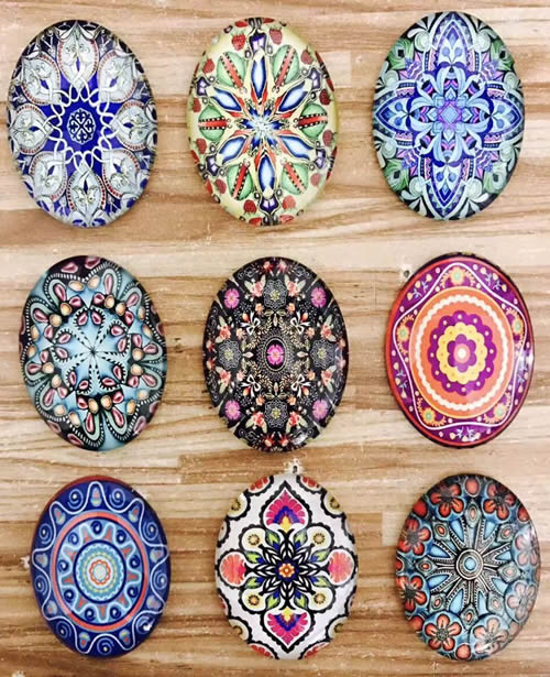 18x25mm Mixed Style Oval Glass Cabochon Dome Jewelry Finding Cameo Pendant Settings 20pcs/lot (K05510)