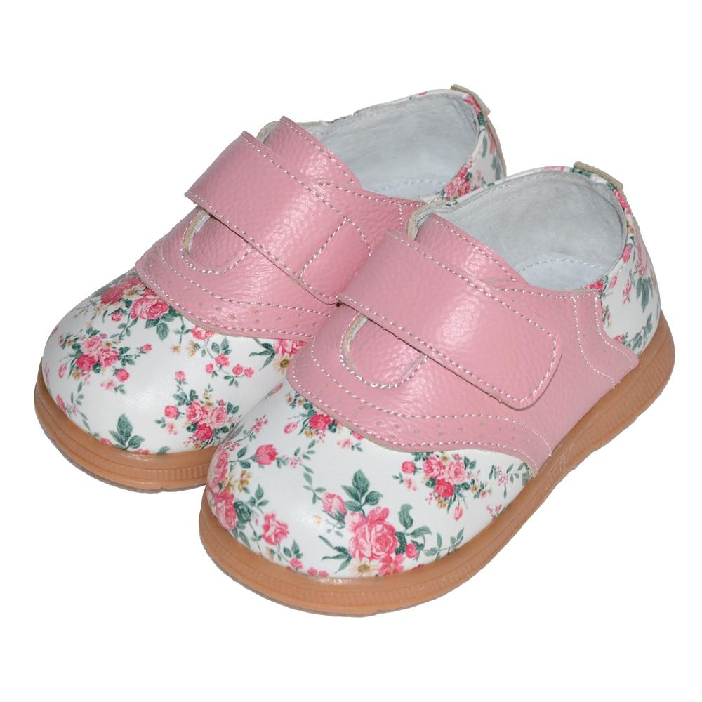 2017 nowe dziewczyny buty prawdziwej skóry róża druku wiosna - Obuwie dziecięce - Zdjęcie 4