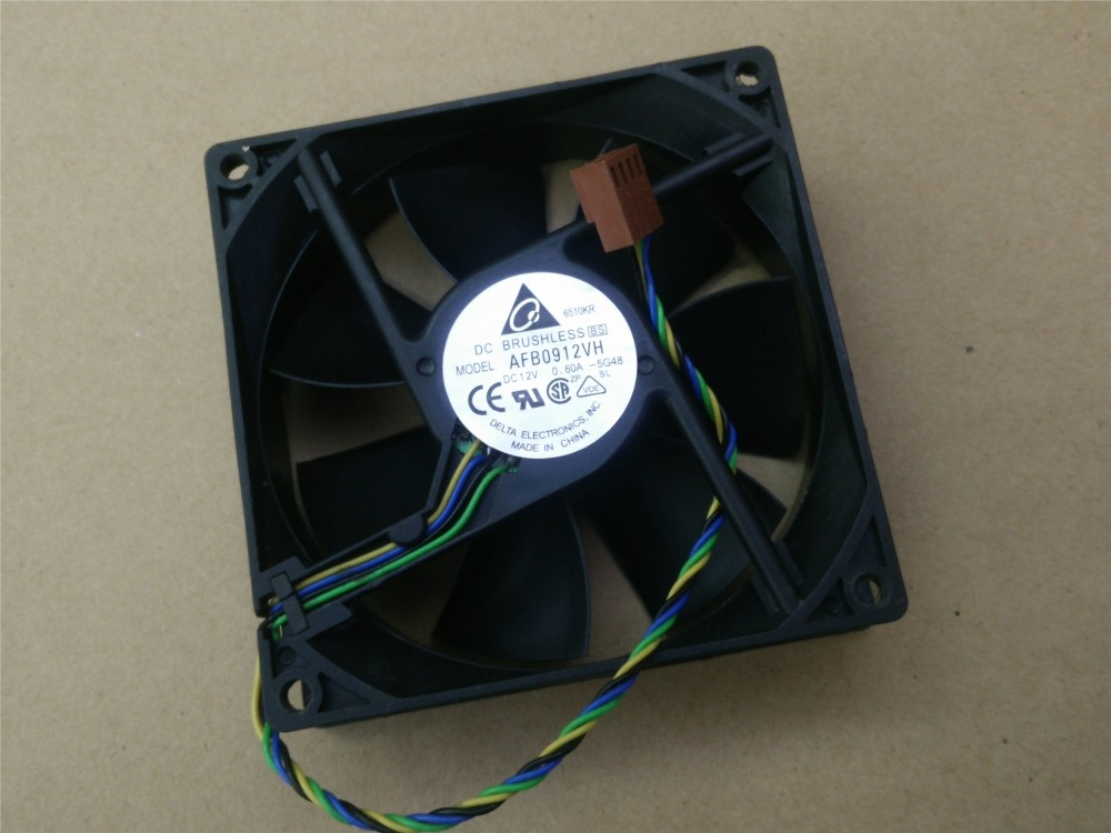 Free Shipping Original Delta AFB0912VH = AUB0912VH 9cm 90mm 90*90*25MM 9225 DC 12V 0.60A 4-pin pwm computer cpu cooling fans free shipping wholesale original delta delta afb0912uhe f00 9238 90mm 12v 3 0a server axial powerful cooling fans