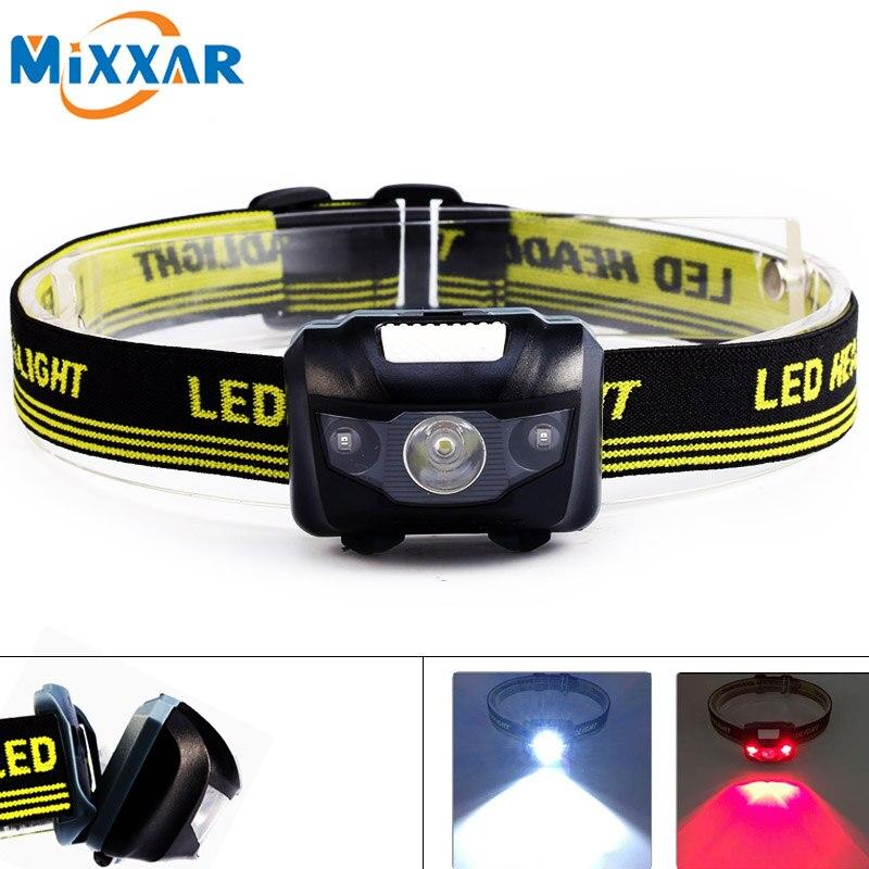 Zk30 Dropshipping LED Headlight Head Bike Lamp Light Infrared Ray Mini Waterproof 600Lm 4 Modes R3+2 LED 3xAAA Headlamp