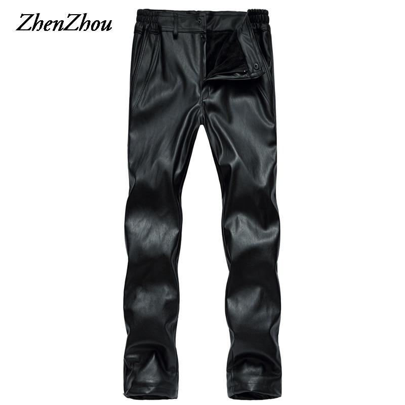 Fashoin hiver Gym hommes pantalon solide polaire droit en cuir pantalon hommes coupe-vent imperméable grande taille XL-5XL pantalon ample hommes