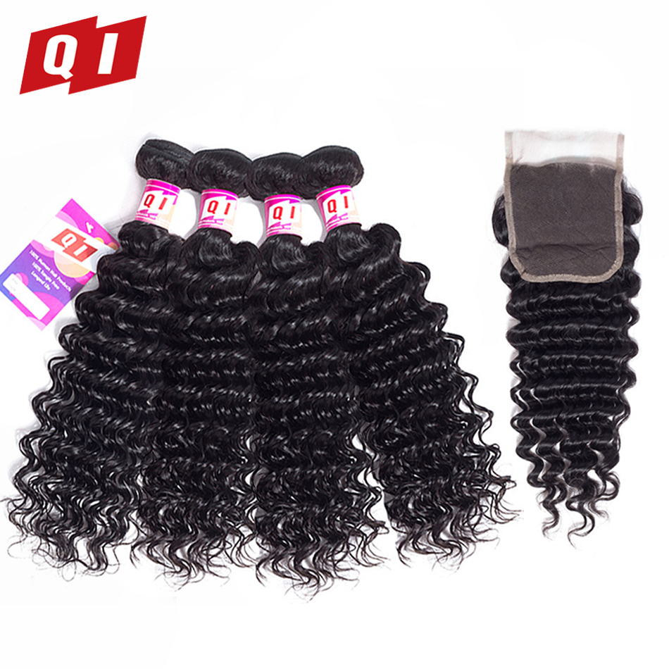 QI Hair 100% Indian Deep Wave Natural Color Hair 4 Bundles With 4*4 Lace Closure Human Hair Bundles With Closure Non Remy