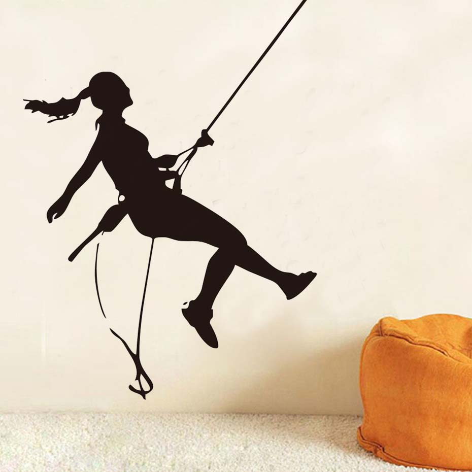 DCTOP Rock Climber Climbing Silhouette Wall Decals Extreme Sports Home Decor Vinyl Adhesive Waterproof Wall Stickers Kids Room