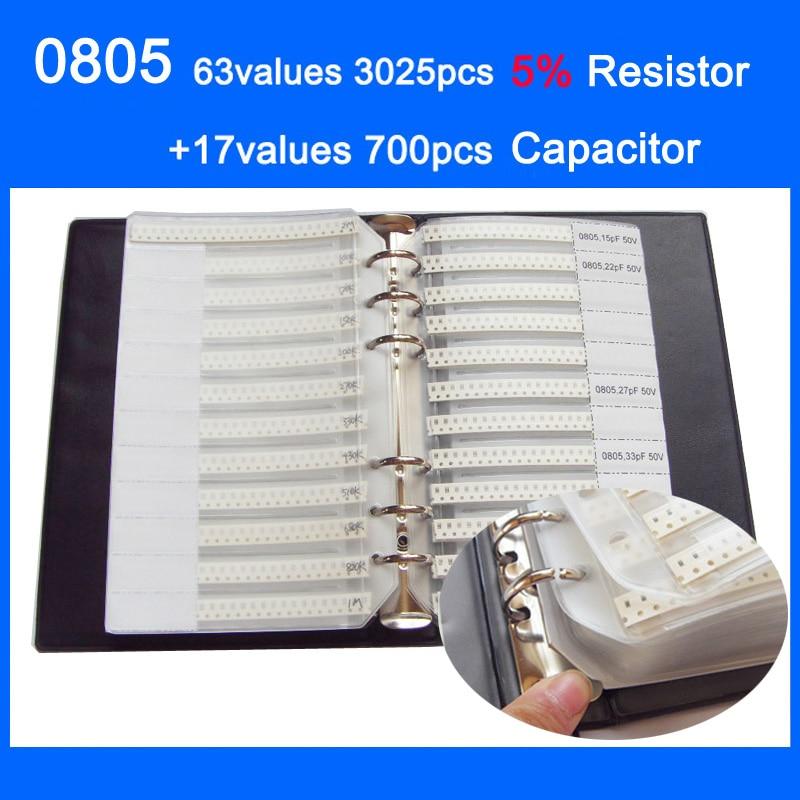 0805 SMD книга для образцов, 63 значений, 3025 шт., набор резисторов 5% и 17 значений, комплект конденсаторов 700 шт.