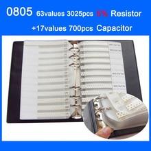 0805 SMD Monster Boek 63 waarden 3025 stks 5% Weerstand Kit en 17 waarden 700 stks Condensator Set