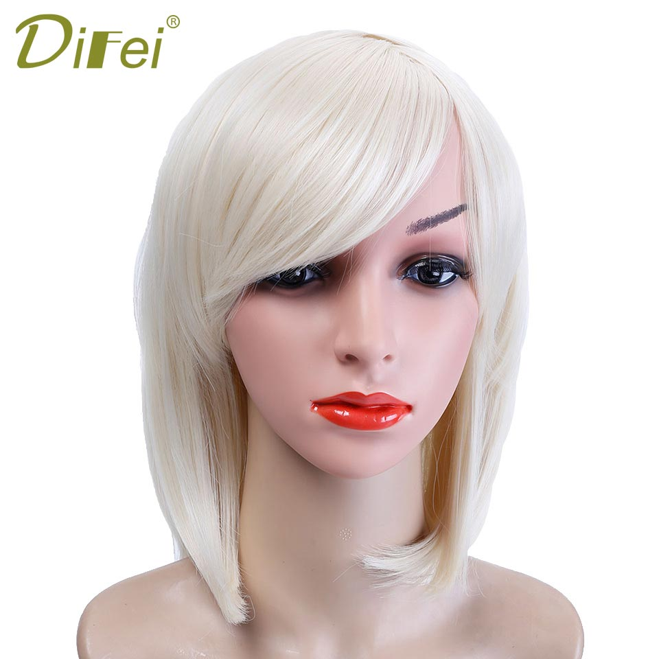 DIFEI 10 Color Pale Gold Bob Style Short Straight Wig Heat Resistant Synthetic Hair Cosplay Wig Costume Halloween Party Wig