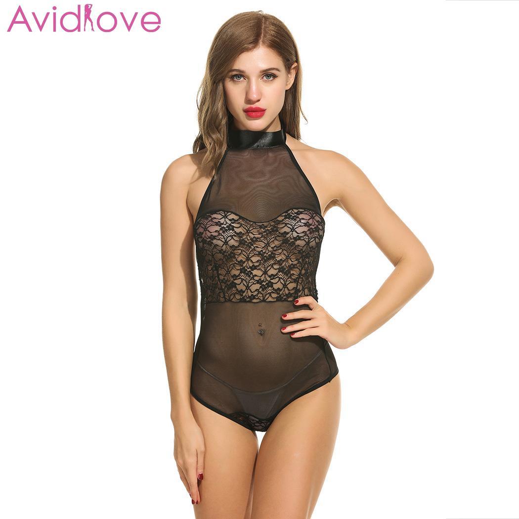 Women Black Lace Sheer Fishnet BodyStocking Backless Babydoll Nightwear Bodysuit