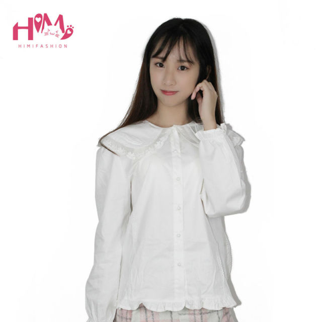 Bunny Peter Collar White Blouse Lolita Shirt Soft Sister Cosplay Cute Tops Women Summer Cotton Shirts White Free Shipping