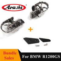 Arashi Front Foot Pegs Brake Pad For BMW R1200GS 2004 2018 Wide Pivot Footrest Footpegs R1200 GS R 1200 1200GS Pedal 2017 2016