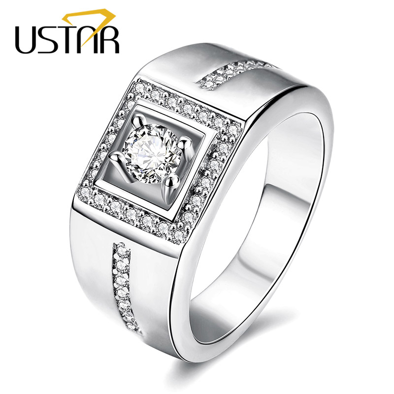 ustar white gold color square wedding rings for men jewelry 5mm zirconia crystals finger mens ring - Square Wedding Rings