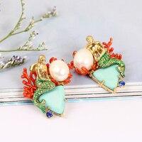 2017 Enamel Ocean Goddess Green Triangle Natural Stone Mermaid Pearl 925 Sterling Silver Needle Earring Jewelry Women Gift