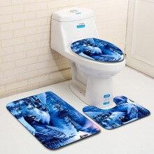 Christmas-Accessories Bath-Mat-Set Toilet-Rugs-Set Non-Slip-Mat Bedroom The for 3piece