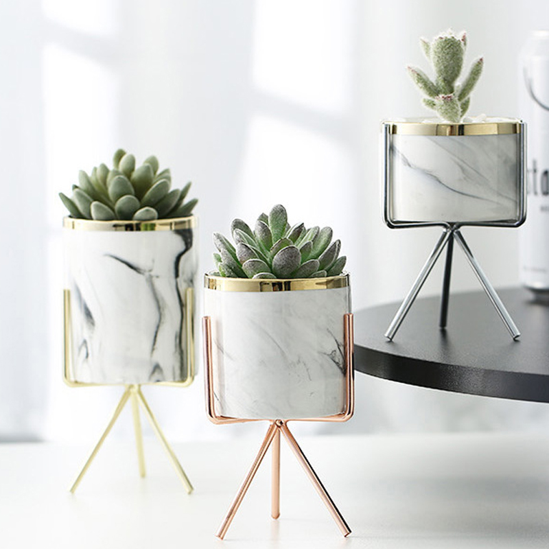 Nordic Ceramic Iron Art Vase Marble Pattern Rose Gold Silver Tabletop Green Plant Pot Home Office Vases Decorative 9
