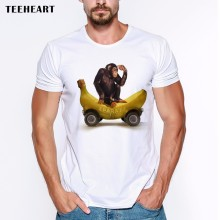 2017 Newest Design Funny Monkey On Banana Short Sleeve Men's T-shirts Tee Fashion Animal Print Hipster Tops