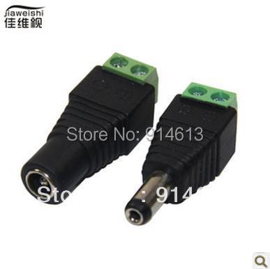 Free Shipping 10 pairs Female + Male Mark Polarity DC Power Jack Connector Adapter For 5050 3528 Single Color LED Strip Light