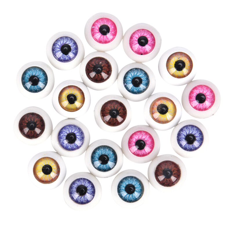 10pcs(5pairs) Mix Color 12mm Doll Eyeballs Half Round Acrylic Eyes For Doll Toy Parts DIY Doll Bear Crafts Plastic Doll EyeBall