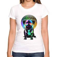 Shirt Designer Short New Style Disco/Music Pug Crew Neck Womens Tee