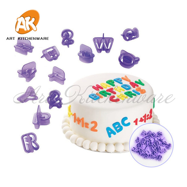 40pcs Alphabet Numbers Mold Cookie Cutter Set Baking Fondant Biscuit Letters Birthday Cake
