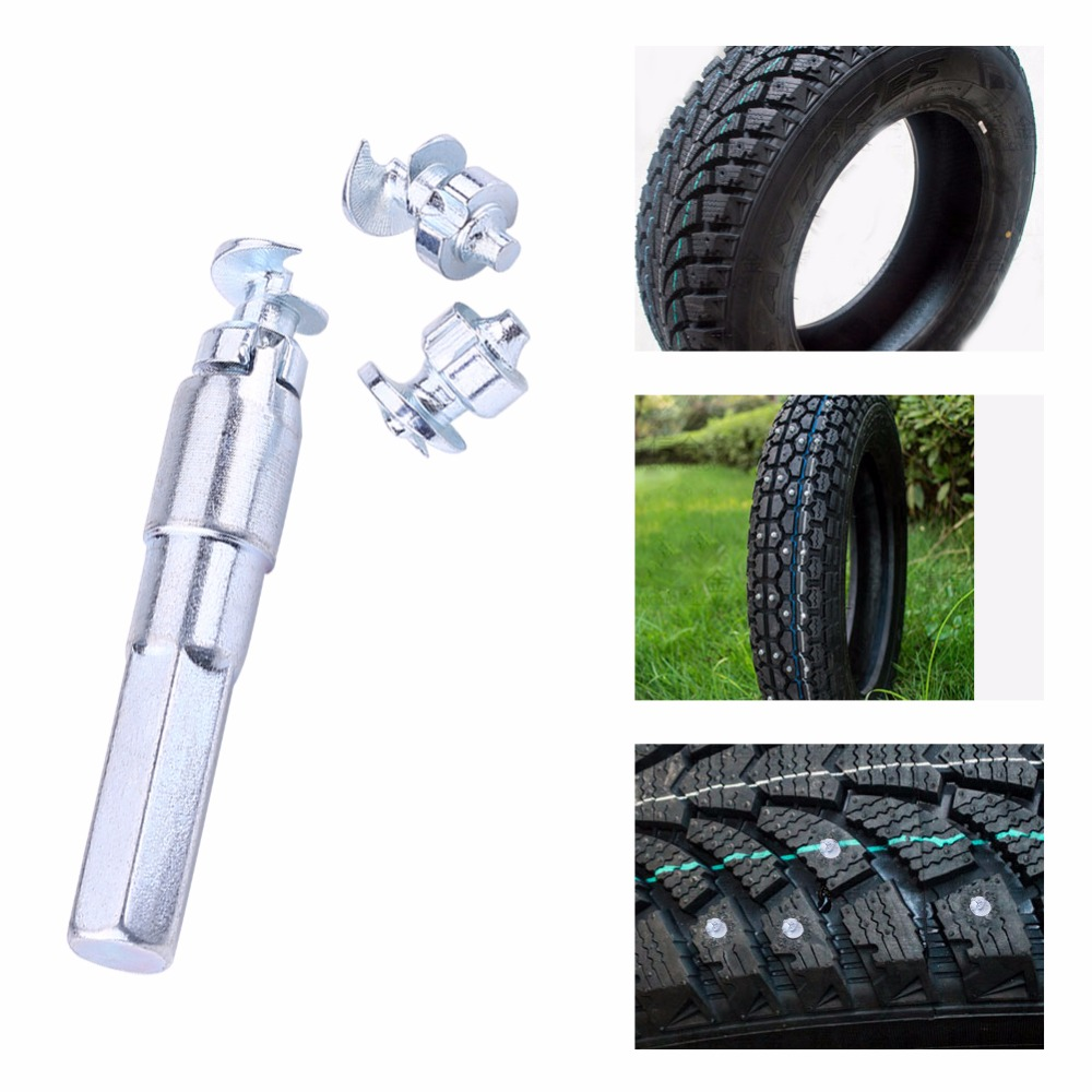 100pcs Wheel Tyre Stud Screws Winter Snow Tire Spikes with Sleeve for Car ATV Motorcycle Bike