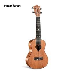 Hanknn 23 Pouce Acajou Ukulélé Concert Hawaïen Guitare Basse Ukulélé En Forme de Coeur Professionnel Musical Instruments Débutant Cadeau