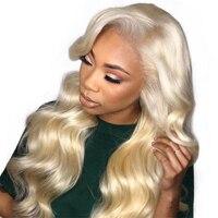 613 блондинка Синтетические волосы на кружеве парик натуральные волосы парики для Для женщин тело волна предварительно сорвал 360 Синтетичес