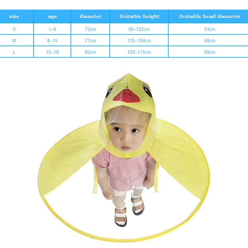 Baby Boys Girls Cartoon Duck Raincoat Cute Hooded Windbreaker Coat Outerwear Jacket