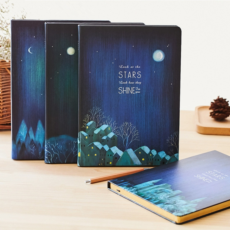 Night Forest Series Notebook B5 Creative Fine Thicken Diary Notebooks School Supplies Stationery Hard Surface Bronzing Notepad color page diary notebook a5 simple top quality thicken notebooks school supplies stationery fine travel plan notepad gift page 5