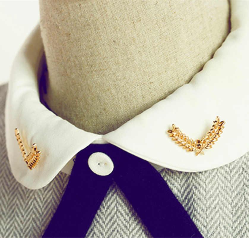Oro Foglie Clip Collare Spilla Camicia Degli Uomini Del Vestito Delle Donne di Grano di colore Foglia Fogliame Collare Spille Spilla Camicetta Vestito Paio di Accessori