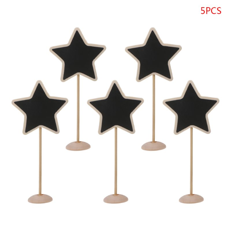 5Pcs Star Mini Wooden Chalkboard Blackboard Message Table Number Wedding Party Decor Place Card Holder