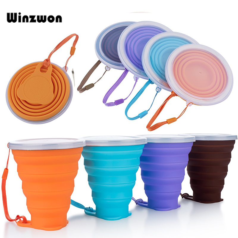 4 Colors 250ML Silicone Travel Cup Retractable Folding Coffee Cup Telescopic Collapsible Tea Cup Outdoor Sports Tour Water Cup