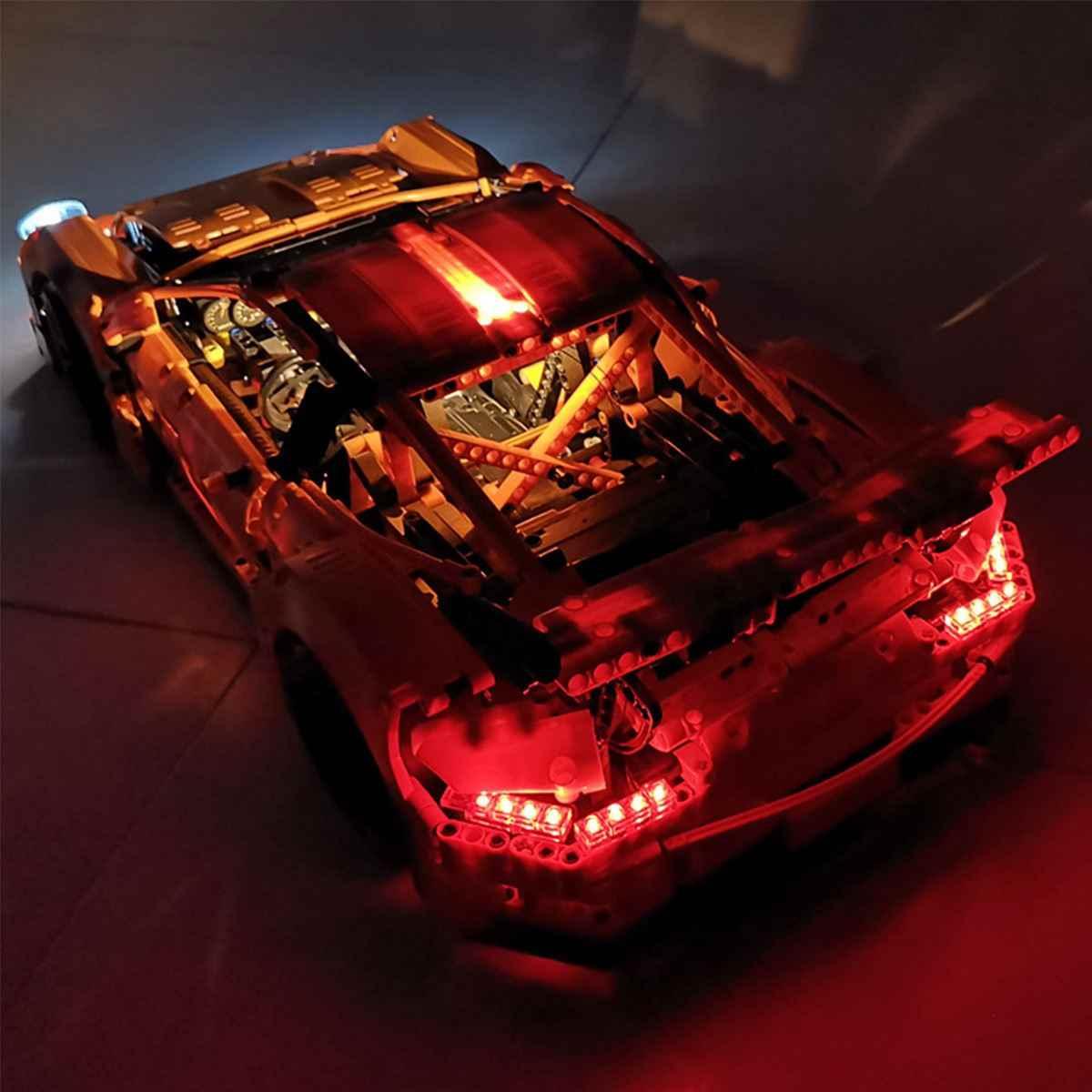 LED zestaw oświetlenia tylko dla Lego dla 42056 dla Porsche 911 GT3 RS zabawki cegły Port USB DIY zestaw oświetlenia LED (Model nie jest wliczony w cenę)