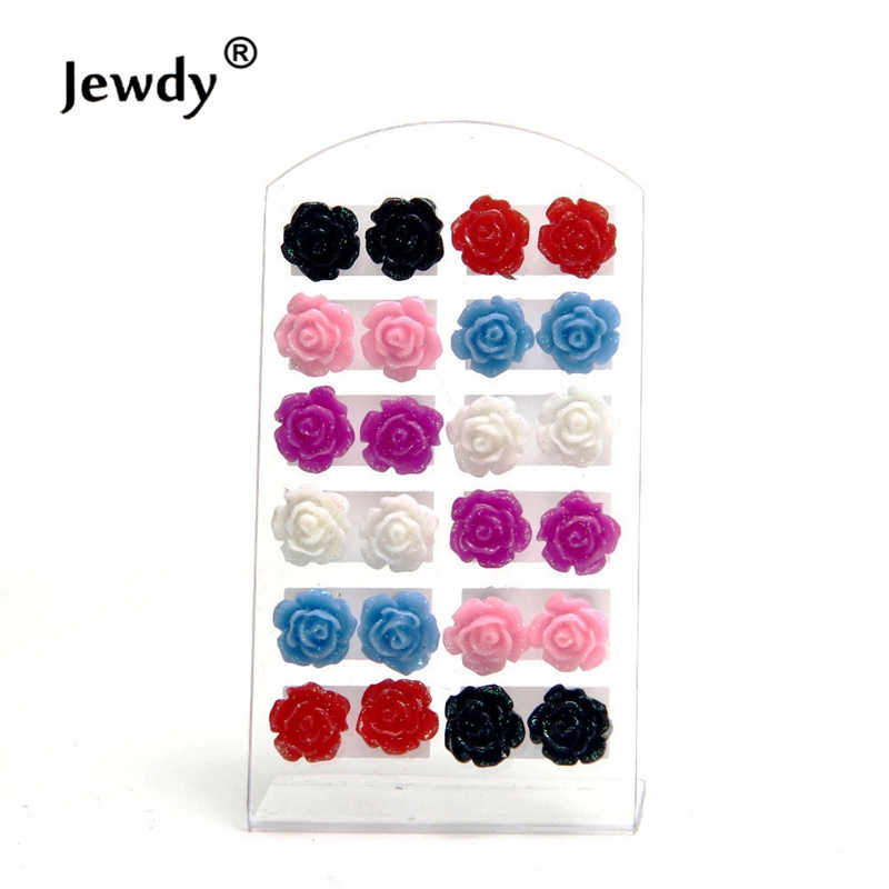 Jewdy 12 pairs/set Multi Color Resin Rose Flower Earring For Women Fashion Jewelry Bijoux Brincos Pendientes Mujer Stud Earrings