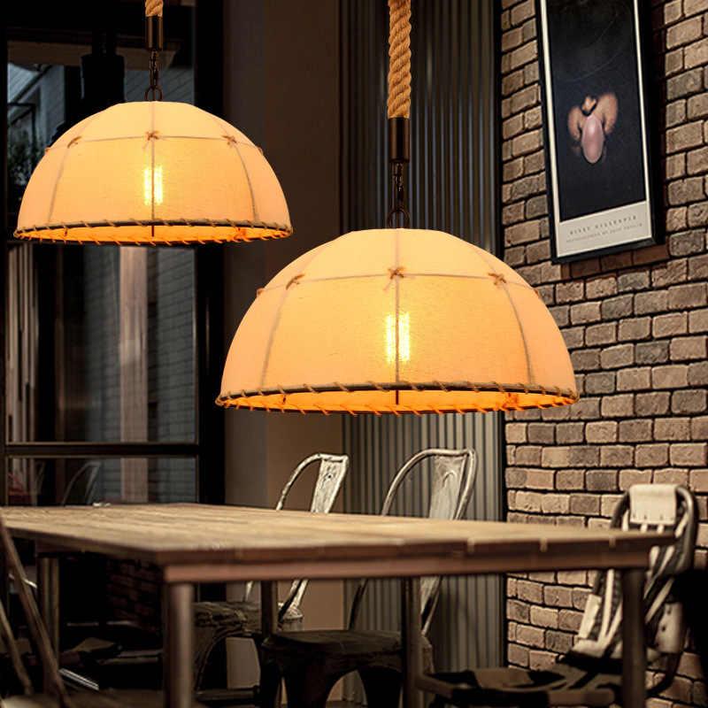 Винтажная ручная вязальная люстра, подвесные светильники Светильник пеньковая веревка абажур E27 держатель для кухни лампе деко столовая