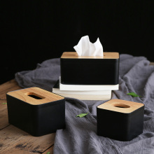 Nordic Black Color Tissue Containers with Phone Holder Wood Cover Seat Type Roll Paper Canister Cotton Pads Storage Box