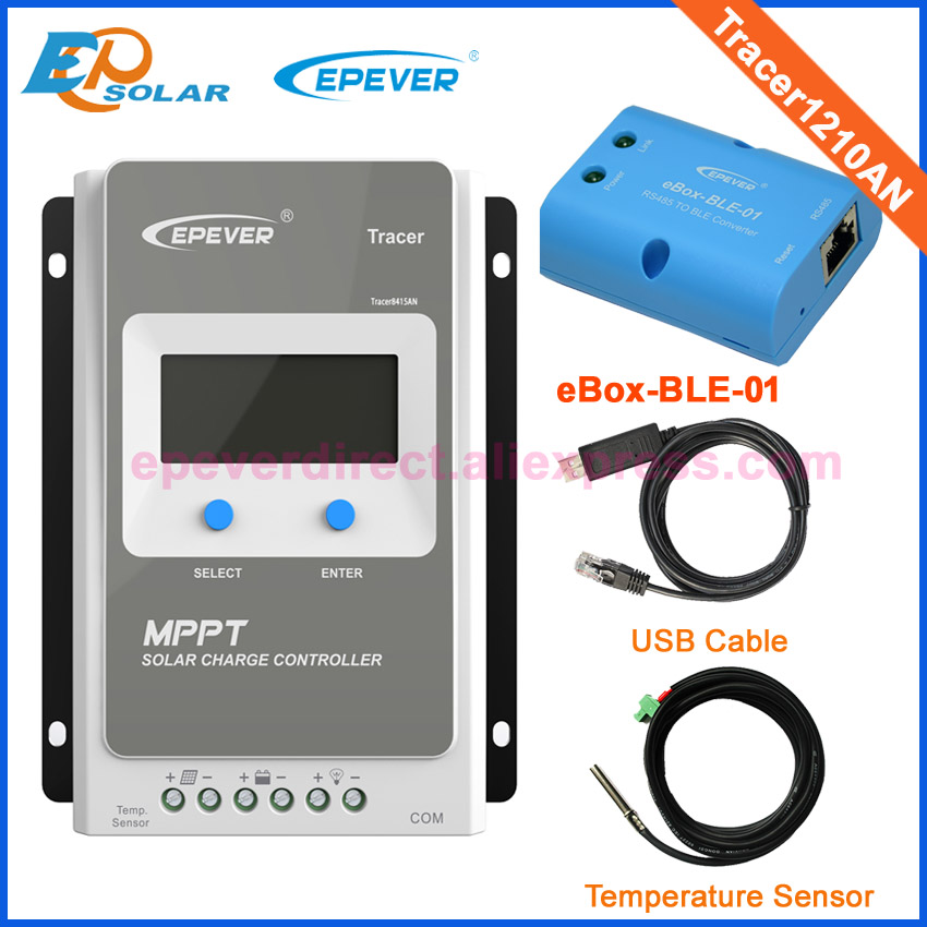 MPPT solar battery charger controller Tracer1210AN USB and sensor bluetooth function 10A 10amp 12V 24V auto work 10a 10amp mini home controller 12v 24v auto work ls1024b pwm solar battery regulator bluetooth function and cables epever