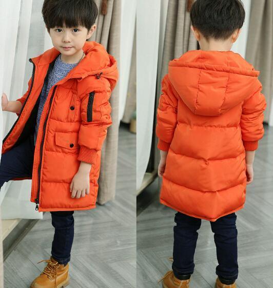 2016 hot crianças Down & Parkas 4-10 T crianças inverno outerwear meninos casuais com capuz quente jaqueta para meninos meninos sólidos quente casacos